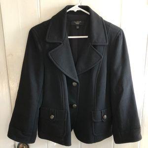 Talbots Petites Black 100% Wool Blazer Size 14P